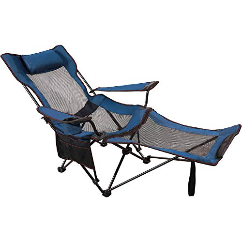 REDCAMP Camping Chair with Foot Rest, Heavy Duty Folding Camp Chairs for Adults 300 lbs, Lightweight Portable for Outdoor,Blue with Mesh Back