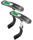 Digital Luggage Scale (2 Pack), Fosmon [Stainless Steel] Digital Hanging Luggage Weight Scale, Up to 110LB with Tare Function - Silver