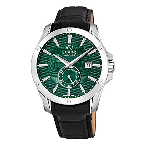 JAGUAR J878/3 Herren-Armbanduhr aus der Kollektion Acamar, 44 mm, grünes Gehäuse mit schwarzem Lederarmband