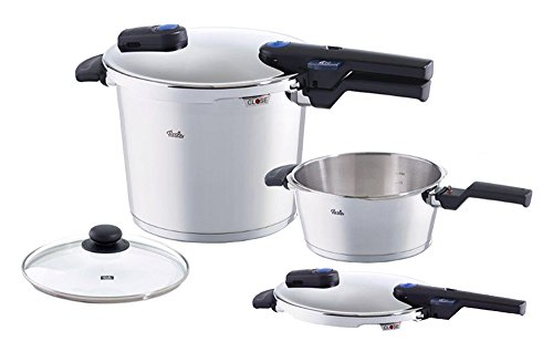Fissler vitaquick Pressure Cooker & Frypan Set with Lid, Induction, 8.4 Quart, 4.2 Quart, Steel