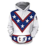 VOSTEPLUS Evel Knievel Cosplay Costume 3D Printed Pullover Hoodie Sweatshirt (XX-Large, White)