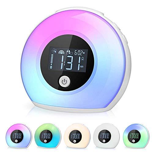 R+M Lichtwecker, Nachttischlampe und Wecker, Nachtlicht für Kinder mit LED-Licht und Bluetooth Lautsprecher, Schlummerlicht für Schlafzimmer, Kinder Wecker für Kinderzimmer