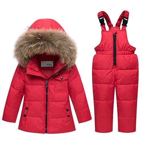 Tuta da Sci Bambino Piumino con Cappuccio + Pantaloni da Sci, 2 Pezzi Tuta da Neve Snowsuit Caldo Invernale Salopette Giacca Cappotto Pantaloni da Neve, Rosso 2-3 Anni