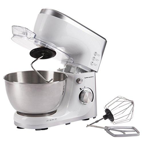 Ultratec Küchenmaschine mit Edelstahl-Rührschüssel, Rührmaschine / Knetmaschine mit 4,5 Liter Edelstahlschüssel – Küchen-Maschinen inklusive Ballon-Schneebesen, Knethaken und Quirl, 800 Watt, weiß