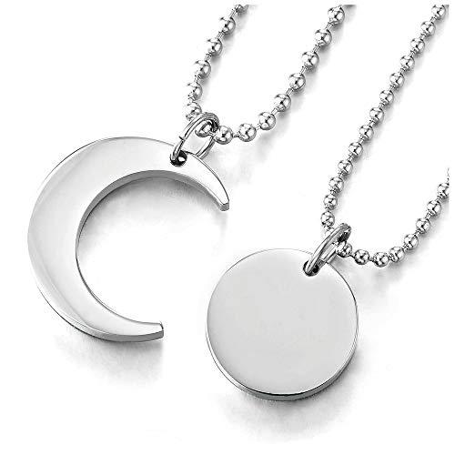 iMETACLII Par Parejas Amantes Luna y Sol Emparejado Collar Colgante, Amantes Parejas Amigos para Hombre Mujer, Acero
