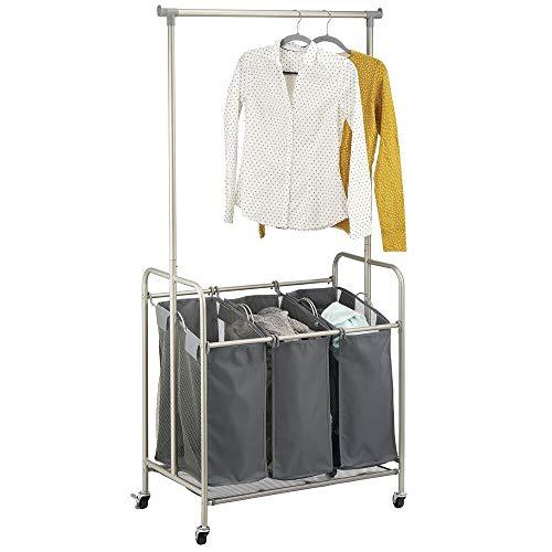 mDesign Wäschesammler – Wäschekorb mit 3 Fächern und Kleiderstange aus Polyester und Metall – mobiler Kleiderständer für Bad, Schlafzimmer und Waschküche – grau und mattsilberfarben