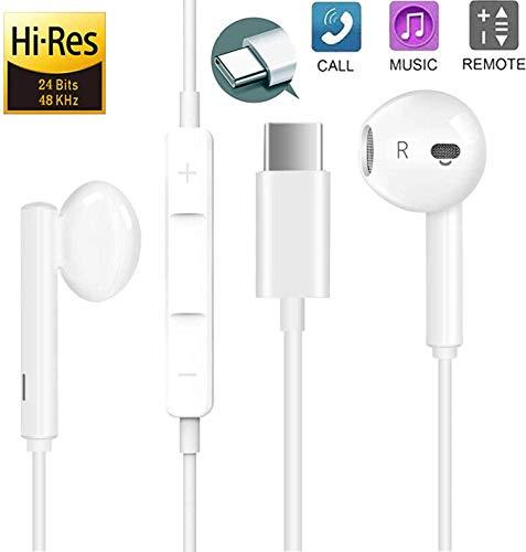 Auricolari USB Tipo C con Microfono e Controllo del Volume Hi-Res Cuffie per iPad Pro/MacBook Pro/Air, Huawei P30/P20/Pro/Mate20/Mate10, Xiaomi mi 9/8/mix, Google Pixel 3/3XL/2/2XL, OnePlus