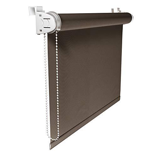 Victoria M. Klemmfix Verdunkelungsrollo ohne Bohren Rollo 50 x 150 cm, Braun, Seitenzugrollo Verdunkelung für Fenster und Türen