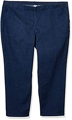 2 pocket pull on pant in average and petite length Smooth front waistband with side back elastic Relaxed fit straight leg Comfort stretch Sits at natural waist