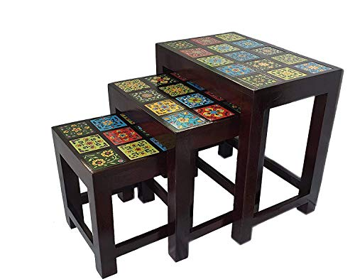RSN Nesting Tables Living Room Coffee Table Sets of 3 Stacking End Side Tables Vintage Night Tables for Bedroom Home Office