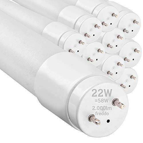 10x Tubi LED 150cm G13 T8 22W Professionale Garanzia 5 Anni 2000 lumen - Luce Bianco Freddo 6400K - Fascio Luminoso 160 - Sostituzione Neon