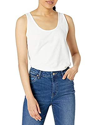 Solid tank top featuring scoop neckline and wide racerback
