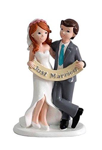 DISOK - Figura Pastel Just Married Recién Casados Figuras para el Pastel, Tartas Nupcial de Bodas Casados, Comprar Online Bodas Outlet