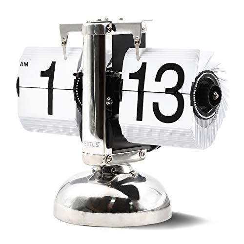 Betus [Retro Style Flip Desk Shelf Clock - Classic Mechanical-Digital Display Battery Powered - Home & Office Décor 8 x 6.5 x 3 Inches (White) (Home)