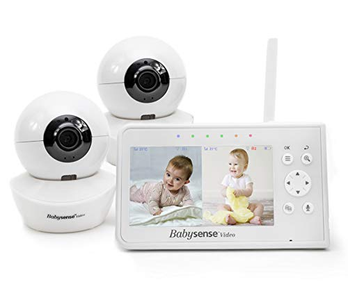 Baby Monitor, Babysense 4.3' Split Screen, Video Baby Monitor with Two Cameras and Audio, Remote PTZ, 960ft Range (Open Space), Adjustable Night Light, Two-Way Audio, Zoom, Night Vision, Lullabies
