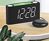 ROCAM Loud Alarm Clock with Bed Shaker Shaking Alarm Clock, Alarm Clock for Bedroom,Sonic Digital Alarm Clock, Large LED Display with Dimmer,7 Colored Light Bed Clock for Heavy Sleeper,Elderly, Kids