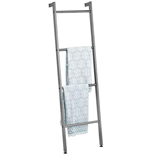 mDesign Metal Free Standing Leaning Decorative Bath Towel Bar Storage Ladder - Holds Towels, Blankets, Throw...