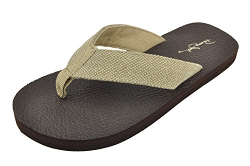 Panama Jack Men's Beach Flip Flop Sandal, Tan Beige, Size 8-9