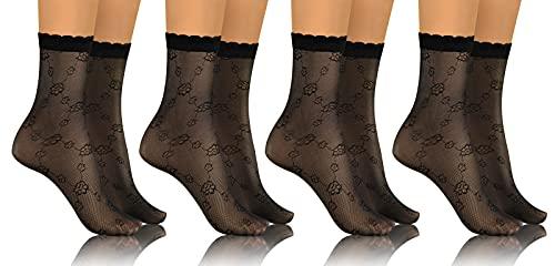 sesto senso Donna Calzini Corte 4 Paia Pizzo Collant Polsino Taglia Unica Nero Calzini Velati con Motivo 01 fiori