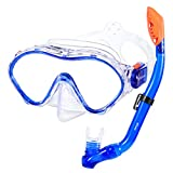 KUYOU Snorkel Set for Kids,Dry Top Snorkel Mask - Anti-Fog and Anti-Leak Easy Adjustable Snorkeling Gear for Children, Boys & Girls,Juniors Freediving Gear Set Age 5. (Blue)