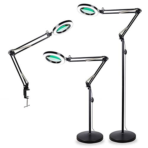 TOMSOO 3-in-1 Magnifying Glass Floor Lamp with Clamp, White/Warm White Lighted Magnifier Lens - Adjustable Stand & Swivel Arm - Full Spectrum LED Light for Reading, Crafts, Professional Tasks (Black)