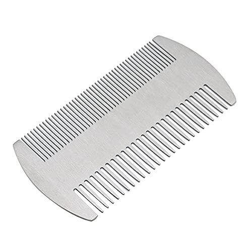 Pettine a portafoglio in acciaio inox, pettine in metallo per barba e capelli, pettine antistatico a doppia azione, per portafoglio e tasca