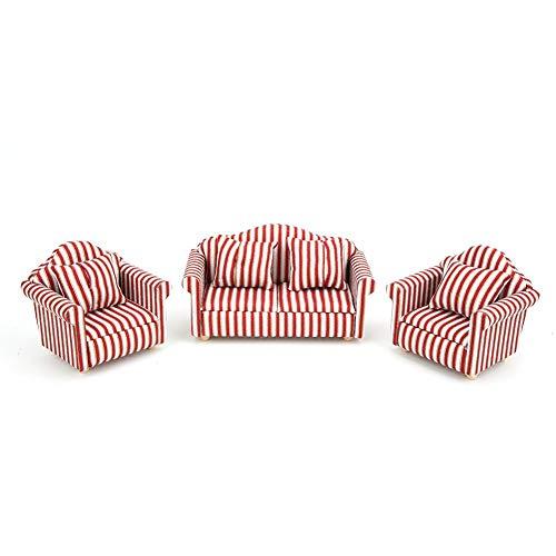 Scala in miniatura 1:12 Mobili in miniatura Divano 3 pezzi Set e cuscini Soggiorno Decor per casa di bambola