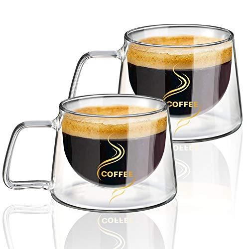 KAMEUN Set di Tazze da Caff con Manico, 200 ml Tazza di Vetro con Manico Calici da Acqua per T, Caff, Latte, Cappuccino, Espresso, Birra Trasparente, Set di 2