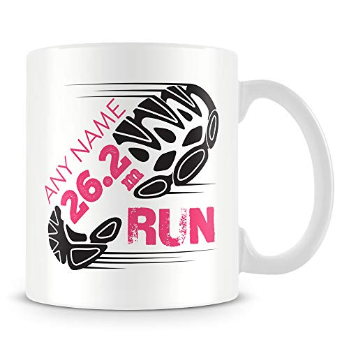 Marathon Mug - Running Personalised Cup Gift for Runners of 26.2 Mile Race - Add Name - Pink