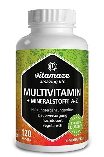 Vitamaze® Multivitaminas Cápsulas de Dosis Alta, 23 Valiosas Vitaminas Completas de la A-Z y Minerales y Oligoelementos, 120 Cápsulas Vegetarianas para 4 Meses, Suplemento sin Aditivos Innecesarios