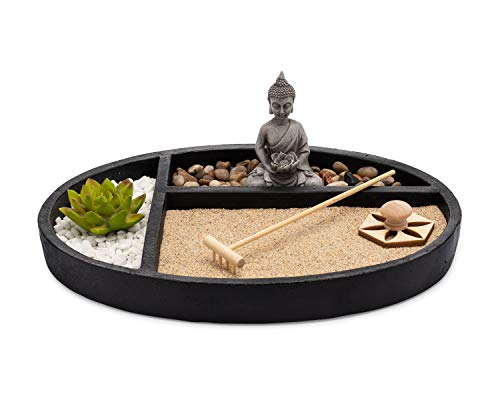 AsanaLiving Desktop Zen Sand Garden with Concrete Base, Meditating...