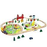 Train en Bois Jouet Circuit Voiture Enfant 82 Pcs Maquette Construction Rail...