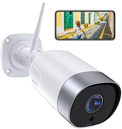 Supereye 1080P Telecamera Ip Esterno, Telecamera Wifi con Custodia in Metallo, Ip66 Impermeabile, Rilevazione di Movimento, Audio Bidirezionale e Visione Notturna, Compatibile con Alexa/NVR/ONVIF