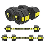 KAC Adjustable Dumbbells Barbell 2 in 1 with Connector, Adjustable Dumbbell Barbell Sets Total...