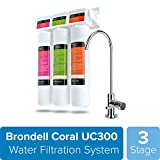 Brondell H2O+ Coral UC300 Three-Stage Undercounter Water Filtration System  Water Purifier with Designer Chrome Faucet  Quick Change Filter, WQA Gold Seal-Certified
