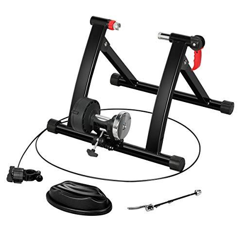 Yaheetech Fahrrad-Rollentrainer mit 6-gängiger Lenkerschaltung, Magnetischer Widerstand, 120 kg Belastbar