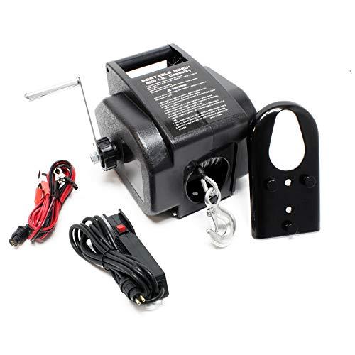 WilTec Treuil électrique 12 Volts Traction Jusqu'à 2267 Kg Treuil à câble Manivelle Outil Bateau Remorque