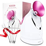 Facial Steamer EZBASICS Ionic Face Steamer for Home Facial, Warm Mist Humidifier Atomizer for Face Sauna Spa Sinuses Moisturizing, Unclogs Pores, Bonus Stainless Steel Skin Kit(Pink)