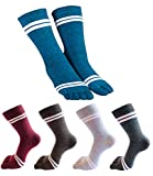 MWMart Toe Socks Cotton Crew Five Finger Socks Running Athletic for Men Women 5 Pack, Darkgray,lightgray,blue,red,grass Green
