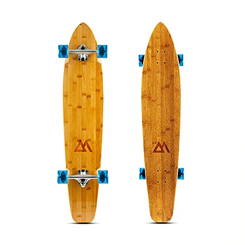 Magneto 44 inch Kicktail Cruiser Longboard Skateboard   Bamboo and Hard Maple Deck   Made for Adults, Teens, and Kids … (Blue)