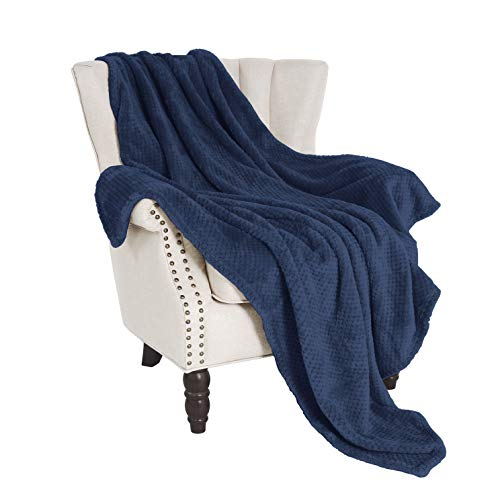 Exclusivo Mezcla Waffle Textured Soft Fleece Blanket, Large Throw Blanket(Navy Blue, 50 x 70 inches)- Cozy, Warm and Lightweight