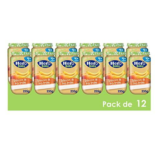 Hero Baby Tarritos Selección de 3 Frutas - Para Bebés a Partir de los 4 Meses - Pack de 12 x 235 g