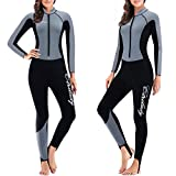 CtriLady Wetsuit, Women 1.5mm Neoprene Full Wetsuit, Long Sleeve Diving Suits with Front Zipper UV Protection Full Body Swimwear for Swimming Diving Surfing Kayaking Snorkeling(M,Gray)