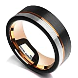 King Will Loop Tungsten Carbide Wedding Band 8mm Rose Gold Line Ring Black and Silver Brushed...
