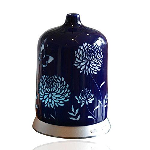 Aromatherapie Ätherisches Öl Diffusor Ruhig Ultraschall Keramik Luftbefeuchter Duftöldiffusoren Handgemacht Blumen Porzellan Abdeckung-Kontinuierlich Wechselnd Nebel LED Nacht Licht (100 ml)