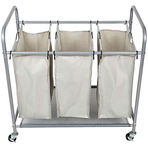 Intercon Wäschekorb Wäschesammler - 3 abnehmbare Wäschebeutel, auf premium Rollen - 44 Liter