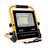 50W LED Work Lights Rechargeable, 120 LED Portable Floodlight with Solar Panel, Built-in Rechargeable Lithium Batteries, IP65 Waterproof Floodlight for Outdoor,Camping, Hiking and Construction Site