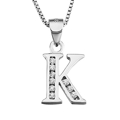 YFN Initial K Pendant Necklace in Sterling Silver with Cubic...