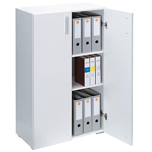 Deuba Mobile 'Vela' Armadio 115,5x60x31cm 2 Porte 3 Ripiani Soggiorno Ufficio Mobile archiviare archiviazione Blanco