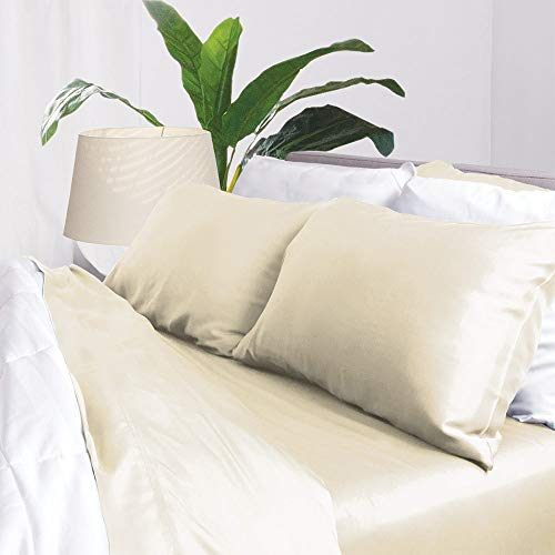 Bamboo Sheets by Aloha Soft - 4 Piece Bed Sheet Set - Includes Bed Sheets and Pillowcases - Lifetime Quality Guarantee (Queen, Ivory)
